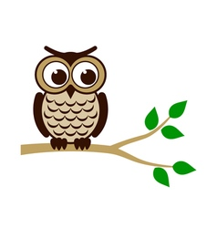 Funny owl sitting on branch vector image