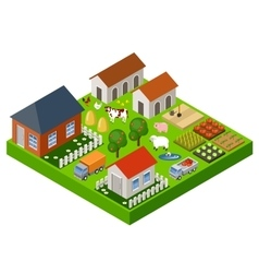 Farm toy isometric block vector image