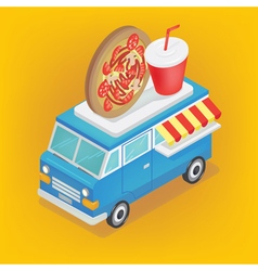 Isometric food truck with pizza and soda vector