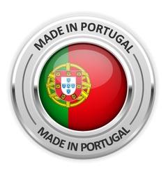 Silver medal made in portugal with flag vector