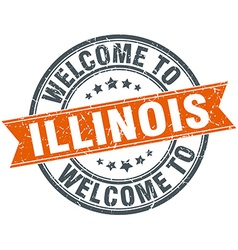 Welcome to illinois orange round ribbon stamp vector