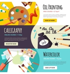Art and craft lessons banners vector
