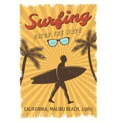 Surfing Retro Poster vector image