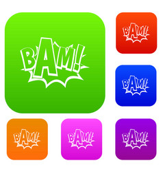 bam comic book bubble set color collection vector image vector image