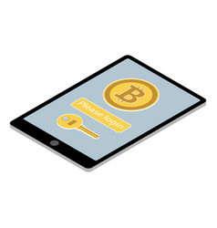 bitcoin wallet app on tablet pc vector image vector image