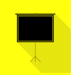 Blank projection screen black icon with flat vector