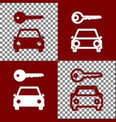 Car key simplistic sign bordo and white vector