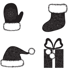 Christmas cap socks gloves and gift vector image vector image