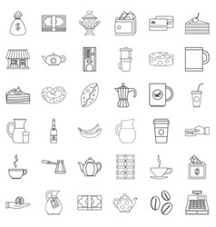 coffee icons set outline style vector image vector image