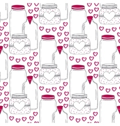 Cute jars pattern valentines seamless background vector