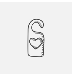 Door tag with heart sketch icon vector image