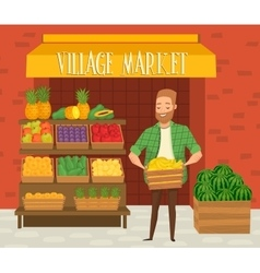 Farmers market Local farmer shopkeeper vector image