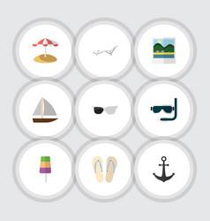 Flat icon season set of spectacles yacht beach vector