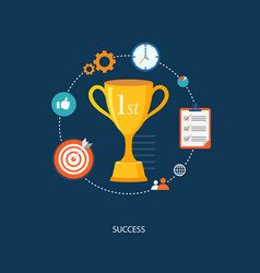 flat winners award with icons vector image vector image
