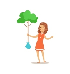 Girl planting a tree helping in eco-friendly vector