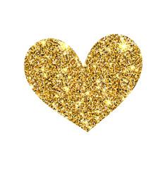 Gold glitter heart golden sparcle st vector