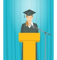 Graduation ceremony speech by asian girl graduate vector