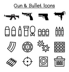 Gun bullet icon set in thin line style vector