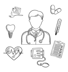 Hand drawn medical items and doctor vector