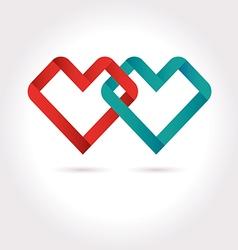 Hearts Tied Ribbon Origami Logo Design Temp vector image vector image