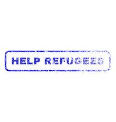 Help refugees rubber stamp vector