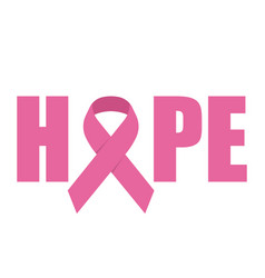 hope emblem with pink ribbon symbol vector image