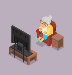 Isometric 3d old lady watching tv sit armchair vector