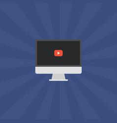 laptop video play button vector image vector image