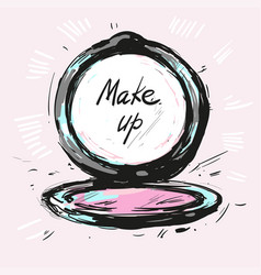 Make up powder hand drawn fashion vector