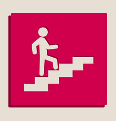 Man on stairs going up grayscale version vector