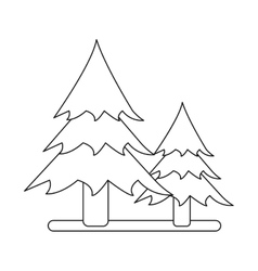 Outline two pine tree forest camping icon vector
