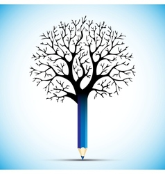 pencil tree color bulb vector image