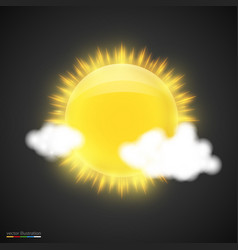 realistic sun with clouds on dark background vector image vector image