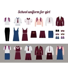 School uniform for girls flat vector