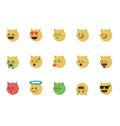 set of cat emoticon vector image