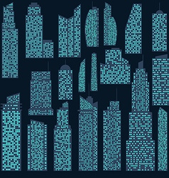Set of detailed skyscraper vector image