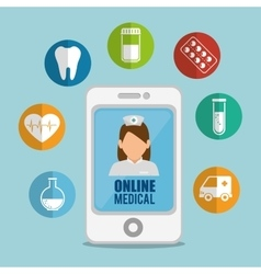 Smartphone medicine online application icons vector