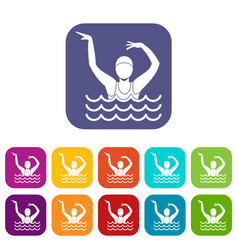 Swimmer in a swimming pool icons set vector