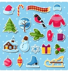 Set of winter stickers merry christmas happy new vector