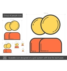Group of people line icon vector