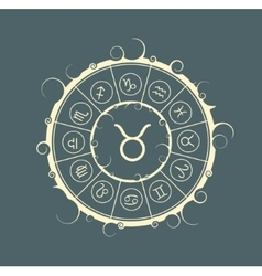 Astrology symbols in circle bull sign vector