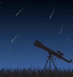 Night Sky with Telescope vector image