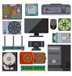 Set of various electronics devices computer parts vector image