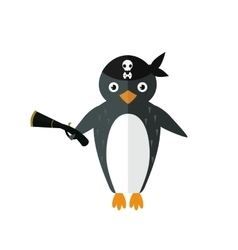Penguin pirate animal character vector
