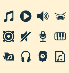 Audio icons set collection of mike meloman vector
