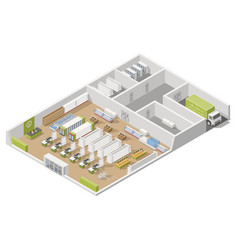 Grocery supermarket with storage rooms and goods vector