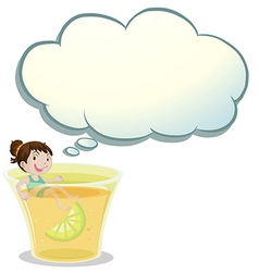 A smiling child swimming on a glass of lemonade vector