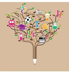 Pencil tree shaped made with school icons set vector