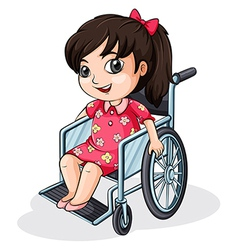 An asian girl riding on a wheelchair vector