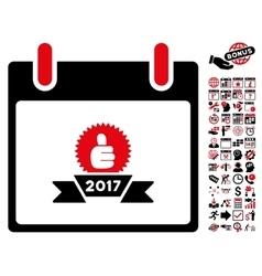 2017 Award Ribbon Calendar Day Flat Icon vector image